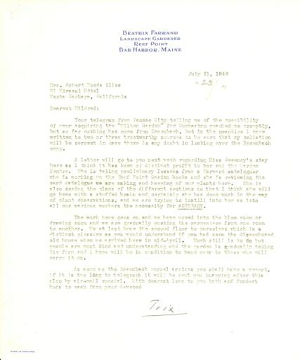 Beatrix Farrand to Mildred Bliss, July 21, 1948
