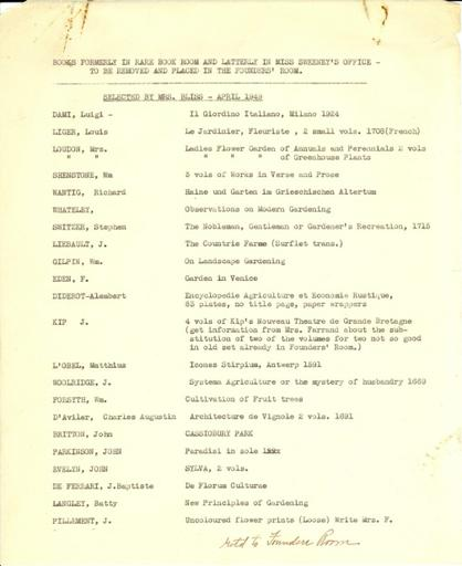 Books for the Founders' Room, April 1949
