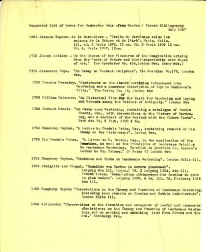 Garden and forest bibliography, 1947