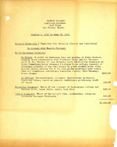 Expense report from Beatrix Farrand to Dumbarton Oaks, January 1, 1941 to June 30, 1941