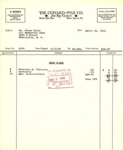 Itemized receipt from Conard-Pyle Co. for Beatrix Farrand, April 24, 1942