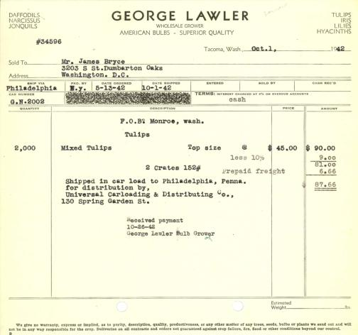 Itemized receipt from George Lawler (Firm) for Beatrix Farrand, October 1, 1942