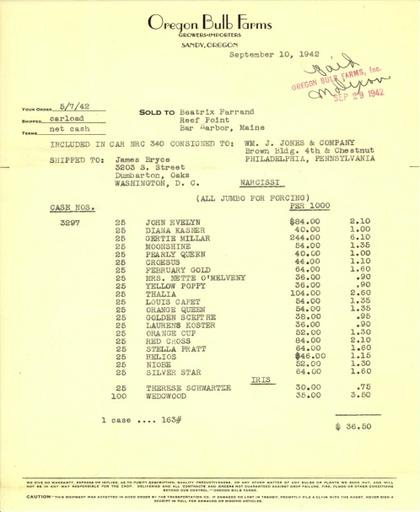 Itemized receipt from Oregon Bulb Farms to Beatrix Farrand, September 10, 1942
