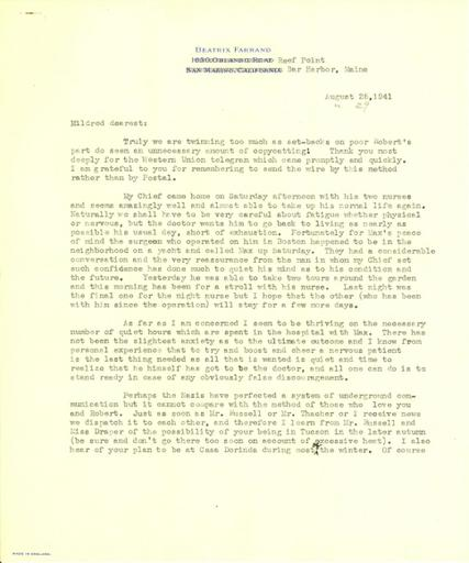 Beatrix Farrand to Mildred Bliss, August 25, 1941