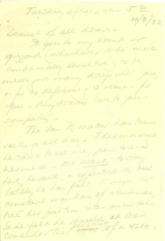 Beatrix Farrand to Mildred Bliss, October 8, 1942
